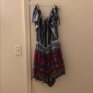 Francesca's Off the Shoulder Boho Romper